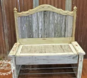 rustic bench from headboard and old fence | hometalk