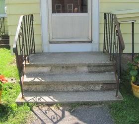 Help Updating Font Porch Concrete Steps Hometalk | Railing For Concrete Porch | Residential | Paver Patio | Hand | Flagstone Porch | Repair