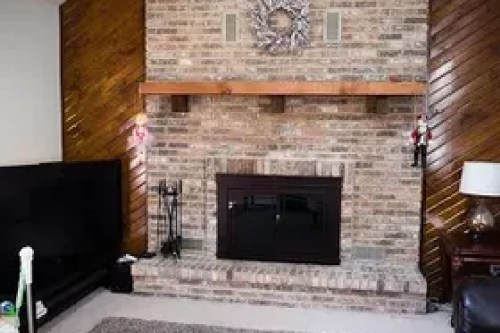Home Design Broken Brick Wall Black And White Front Door Kitchen