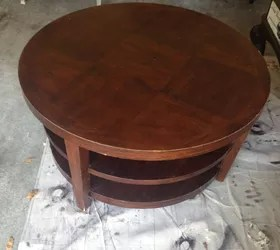 round coffee table turns into tufted