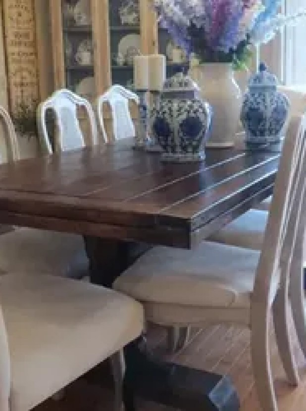 White chalk painted dining room table for Painting dining room furniture ideas