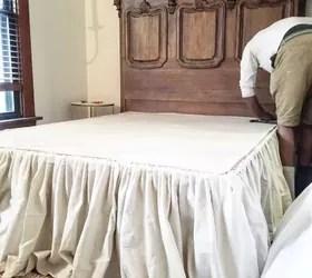 DIY No Sew Drop Cloth Bed Skirt Hometalk