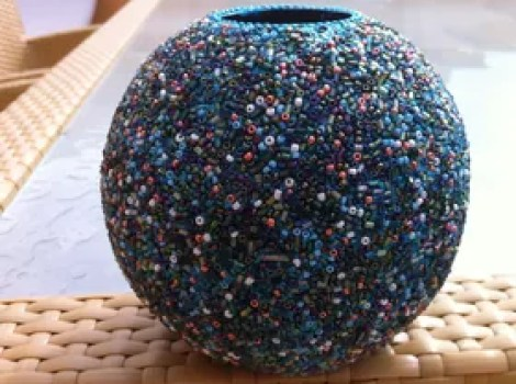 seed bead vase candle holder and more, gardening, Seed Bead Vase Candle Holder