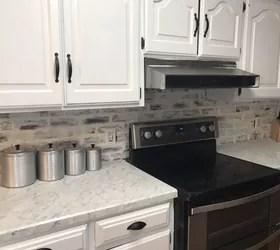 my faux brick kitchen backsplash
