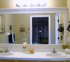 bathroom mirror framed with crown molding | hometalk