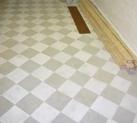 Checkerboard Painted Concrete Basement Floor In New Craft