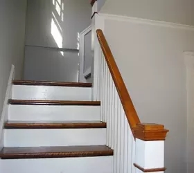 Stair Treads Risers Separated No Access To Underside Hometalk   Stained Stairs And Risers   Two Tone   Natural   Bead Board   Gray Painted   Finished