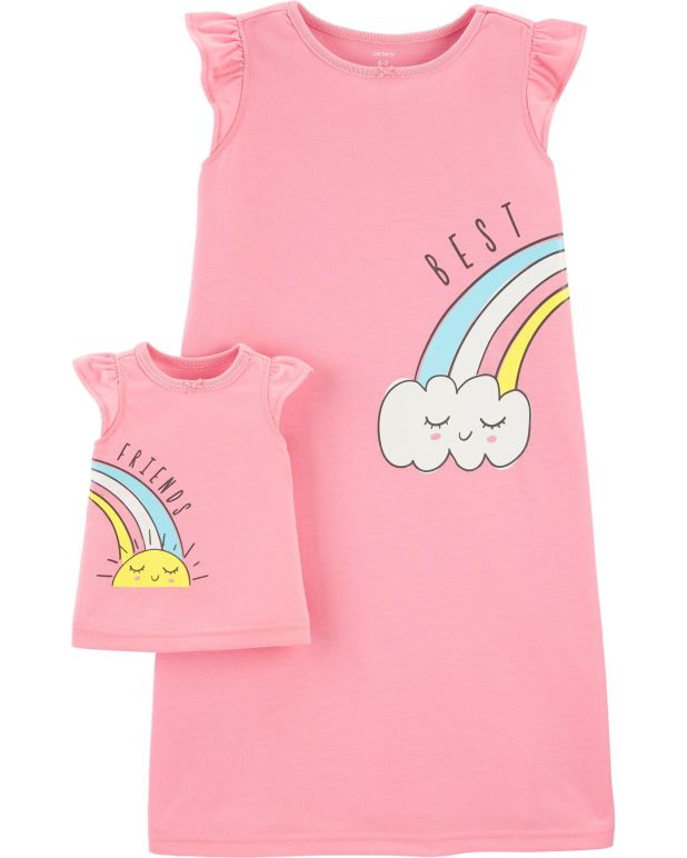 Rainbow Matching Nightgown & Doll Nightgown Set, , hi-res