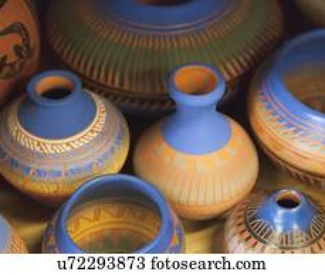 Usa Arizona Phoenix Row Of Colorful Clay Vases