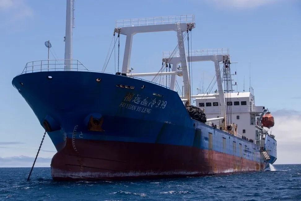 Un buque de bandera china confiscado por la Armada de Ecuador en las aguas de la Reserva Marina de Galápagos, el 25 de agosto de 2017. Foto: AFP