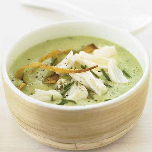 Chilled Avocado Soup Topped with Crab Recipe - Grace ...
