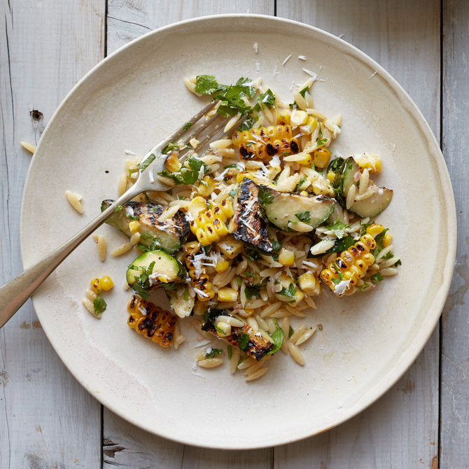 Food & Wine: Corn and Zucchini Orzo Salad with Goat Cheese
