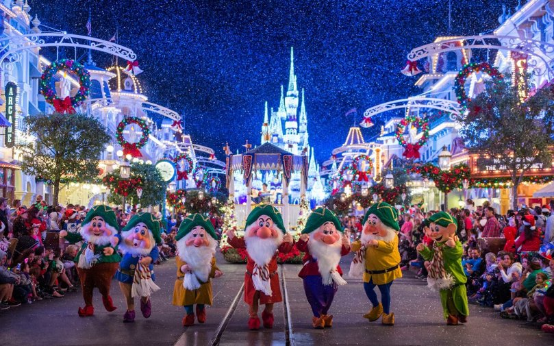 Walt Disney World Magic Kingdom at Christmas time