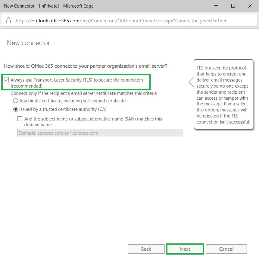 Setting up forced TLS in Exchange online - MS Expert Talk