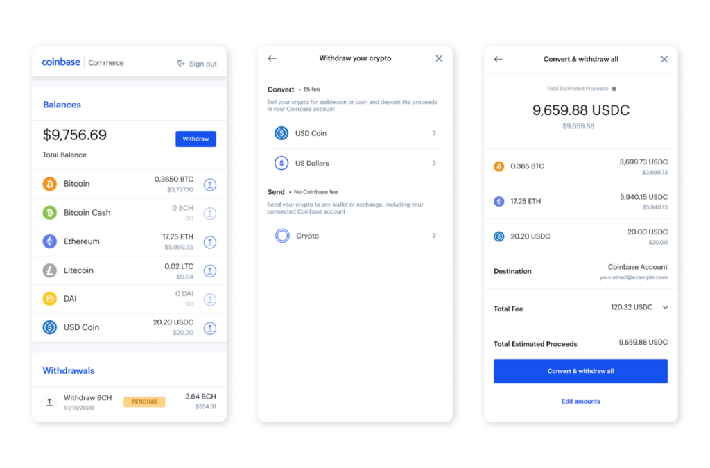 Easily Convert Crypto on Coinbase Commerce using Coinbase.com