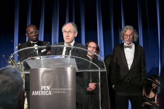 Alain Mabanckou, Gérard Biard, Jean-Baptiste Thoret, and Bob Mankoff (photo by Beowulf Sheehan)