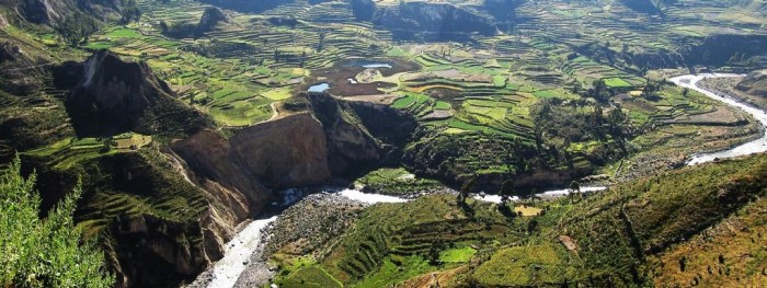 Best Hikes In Peru Image: An elevated view shows that the the hillsides come down in staggered layers.