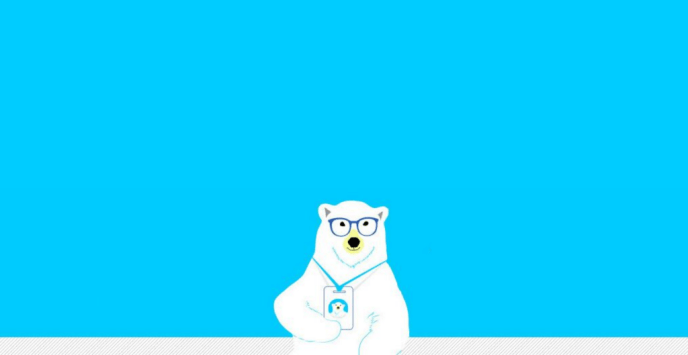 Illustration of a polar bear holding a conference badge