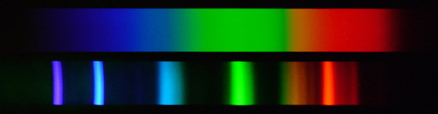 A continuous spectrum is contrasted with the bands of colour shown in the spectrum of an LED light.