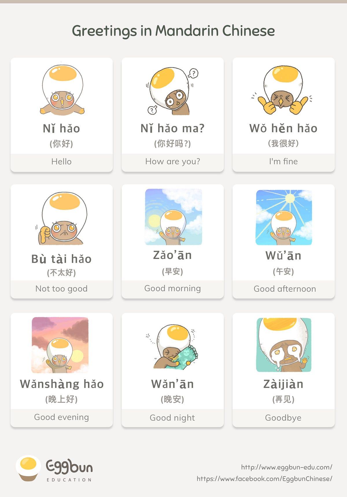 Basic Greetings In Mandarin Chinese Story Of Eggbun