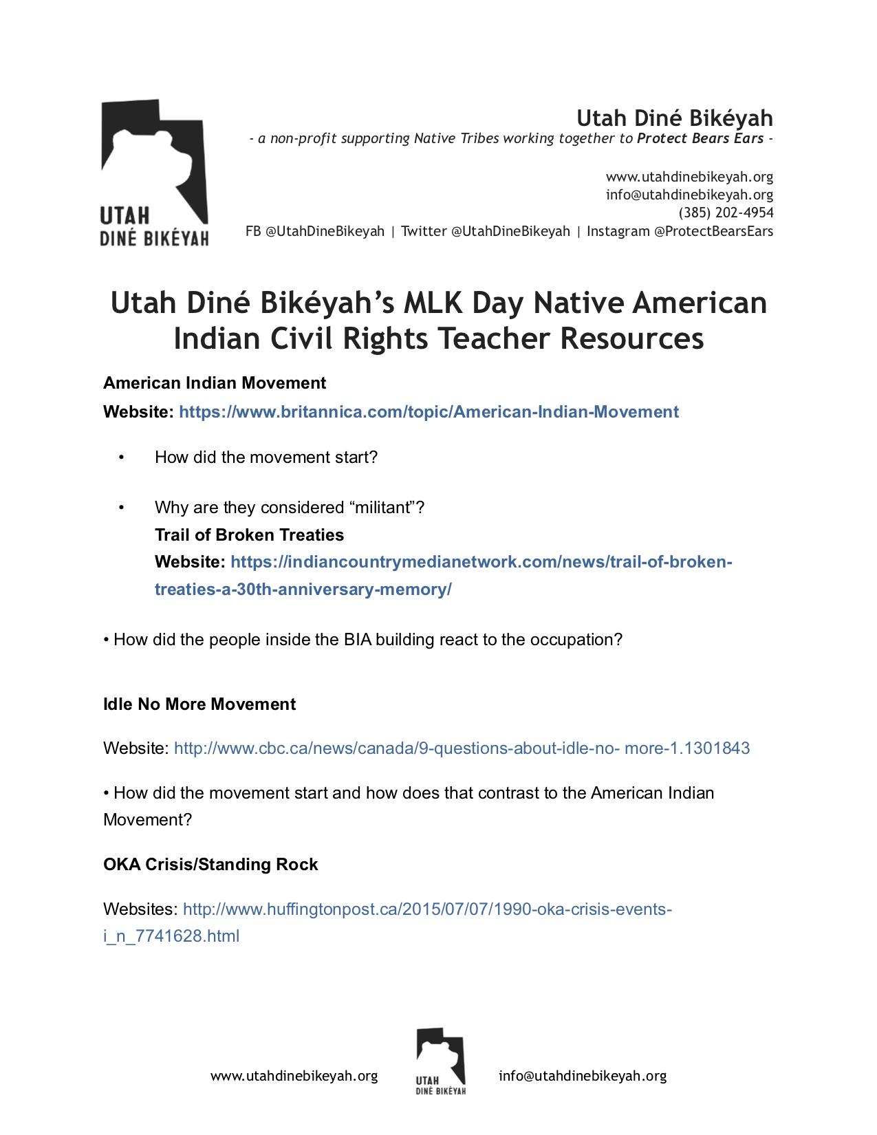 Udb Mlk American Indian Civil Rights Worksheet Utah Dine