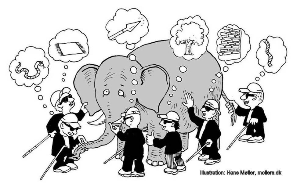 Elefant und blinde Leute