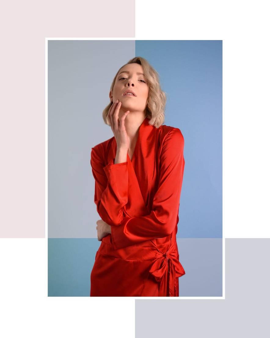 Red silk shirt dress