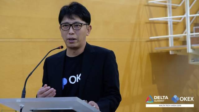 DELTA Summit OKEx Malta Tech Week—Jay Hao, CEO of OKEx, delivering welcome speech at Malta Stock Exchange VIP Drinks