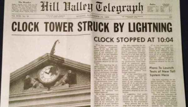 """An image of the newspaper containing the article from the """"Back to the Future"""" movie about """"Clock Tower Stuck By Lightning"""", introducing the new VUCA acronym"""