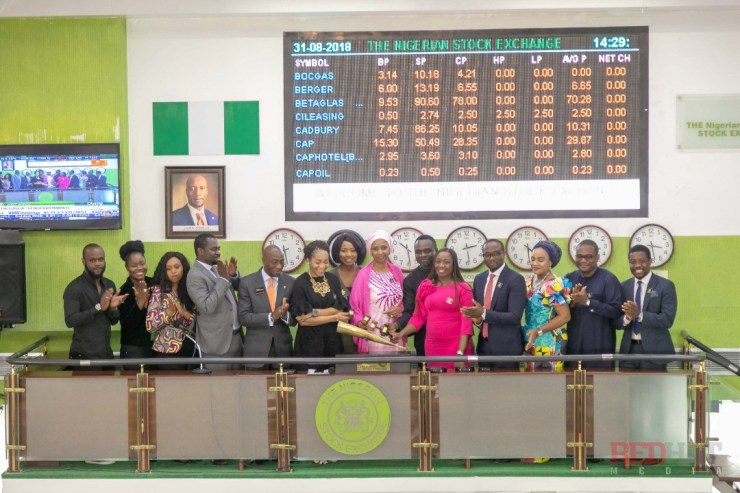 Joining the Honourees to sound the closing gong ending Trading for the day 31st August 2018.
