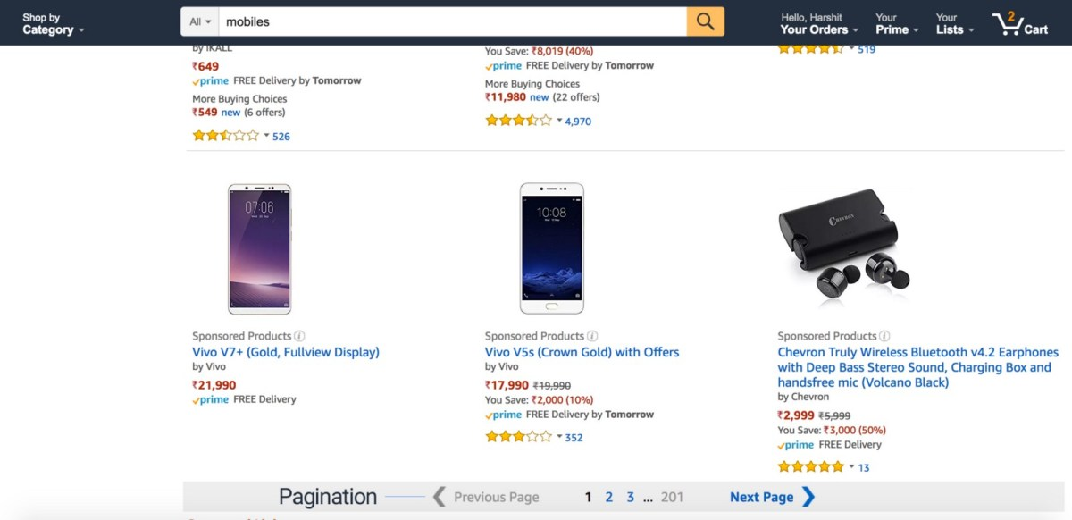 Product listing on Amazon