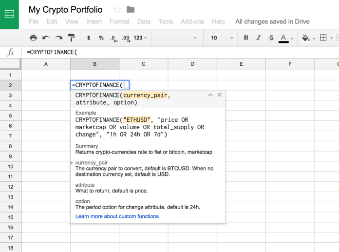 excel spreadsheet for cryptocurrency trading