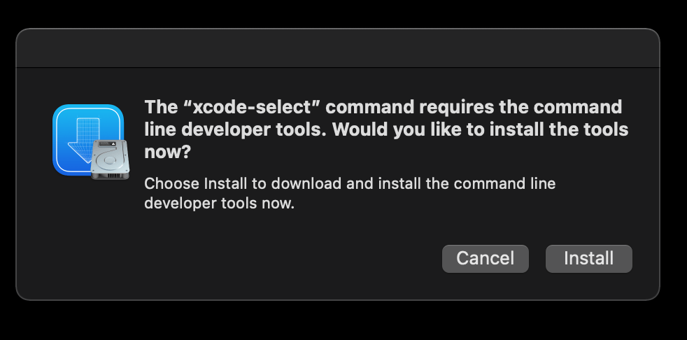 prompt resulting from running Xcode-select — install command