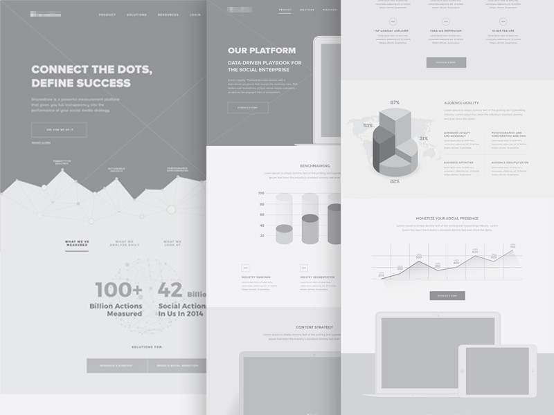 Quality Wireframes Inspiration     Muzli   Design Inspiration Product Website Wireframes by Michael Pons for PG
