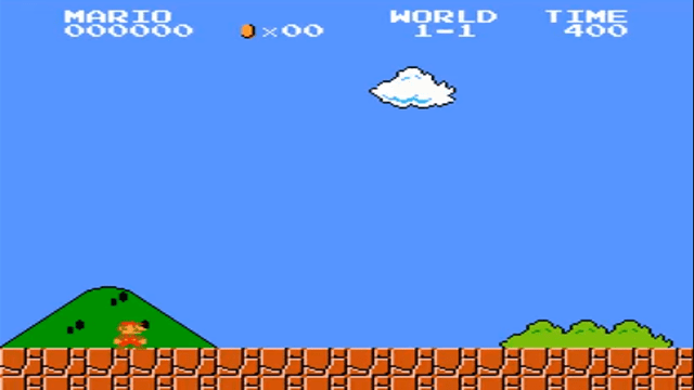 Starting screen of Super Mario Bros. (NES)