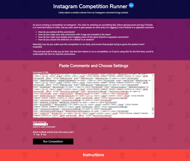 The Instagram Competition Runner Online Tool