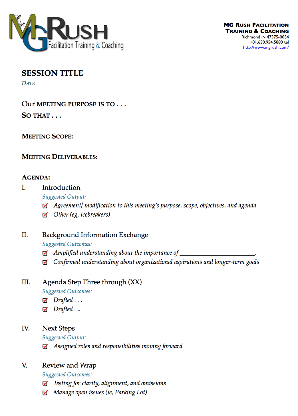 Best One-Page Agenda Template for a 50-Minute Meeting