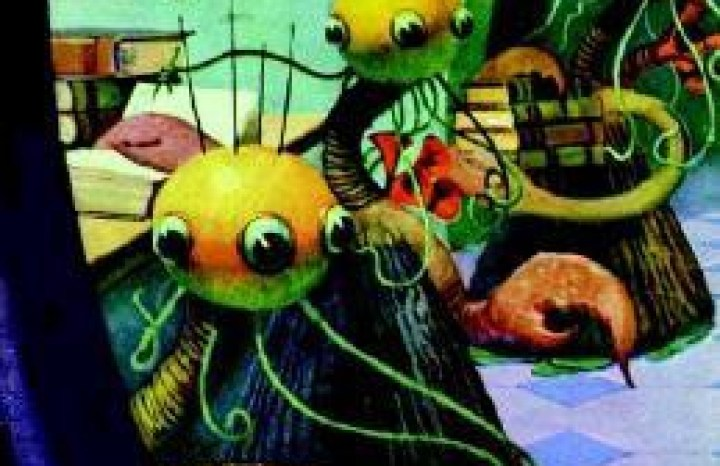 A classic magazine cover depicting a scene from one of Lovecraft's stories