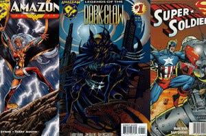 Algumas capas da Amalgam Comics. Amazon = Tempestade + Mulher Maravilha Dark Claw = Batman + Wolverine SuperSoldier = Capitão América + SuperMan