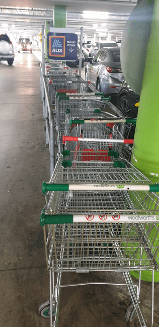 Trolleys jammed in the Aldi return bay