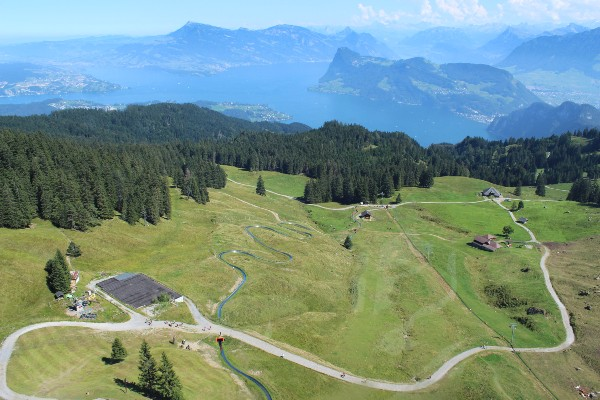 Up, up and away: the last leg to summit the mountain. Overlooking Lake Lucerne.