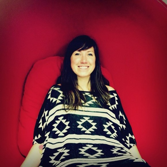 Jessica Hische enjoys the ball chair at A Space Apart.