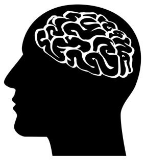 Silhouette drawing of man's profile with brain visible.