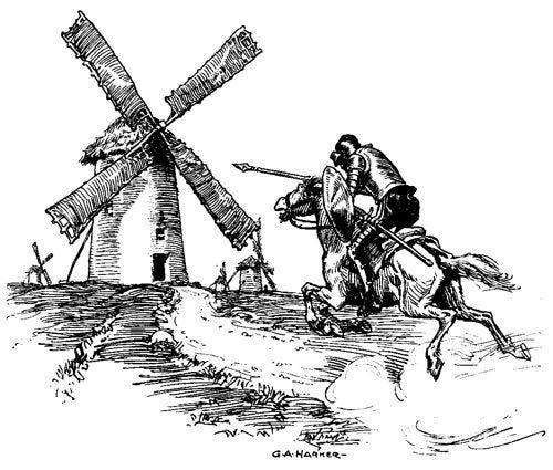 Don Quixote fighting a windmill