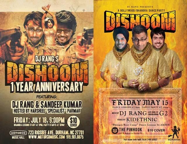 Posters for Dishoom, July 2014 and May 2015. From left to right: DJRang, singer Sandeep Kumar, dholi Jeetu Singh, DJRang, and video artist Saleem Reshamwala, aka KidEthnic.
