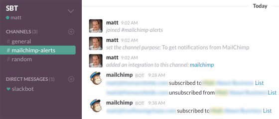 Mailchimp Slack integration