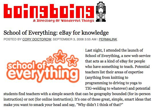 School of Everything on Boing Boing