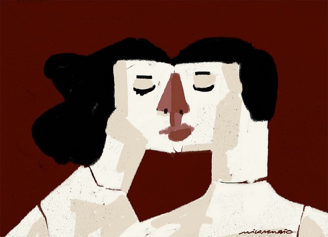 A drawing of two people kissing, eyes closed, their faces merging to form a single one. The background is dark red.