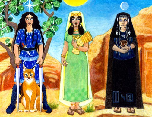 Three figures stand facing us. The figure to the left wears a blue dress spangled with stars, and stands holding two swords, which they rest on either side of a desert lynx, which sits at their feet. A star blazes above their head. In the middle, wearing green, a gold crown and holding golden grain, stands a second figure. The sun shines directly above their head. To the right, dressed in black, stands the third figure. They are holding a cup, and the crescent moon hangs above them.