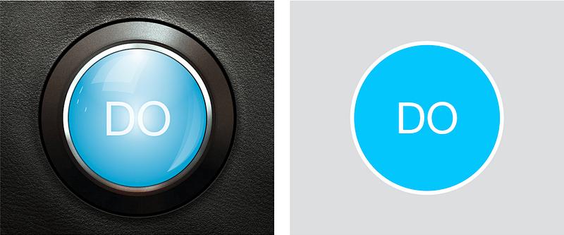 立体的なボタンと平面的なボタン